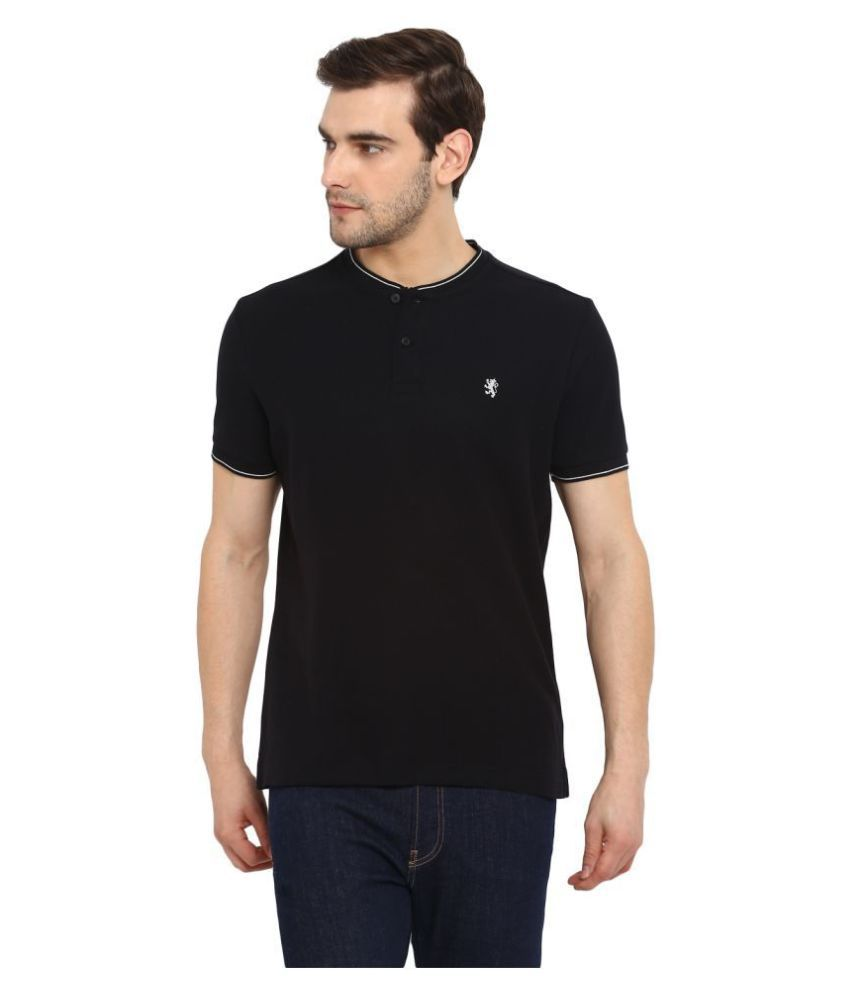 Red Tape 100 Percent Cotton Black Solids T-Shirt