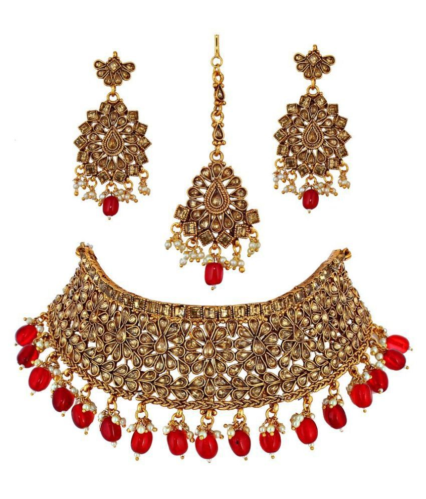 LUCKY JEWELLERY Alloy Red Designer Gold Plated Necklaces Set