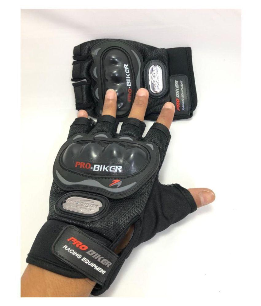 Mubco™ Pro Biker's Gloves Half Cut   Gloves Size Medium Unisex - Black
