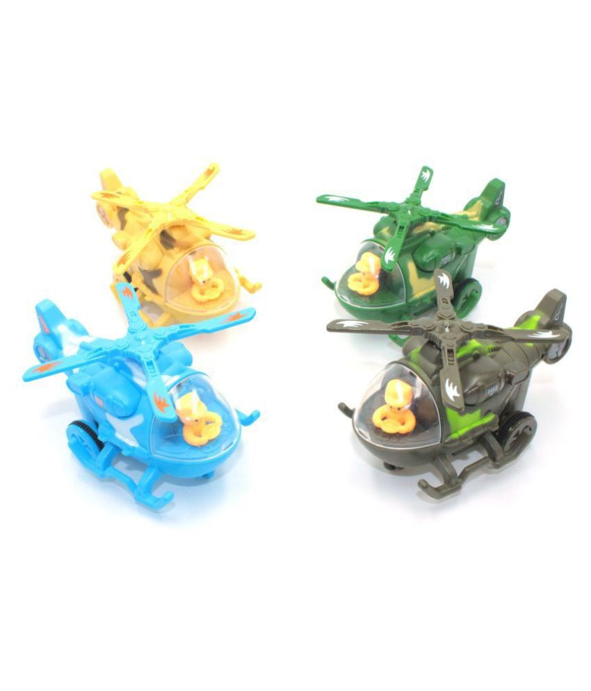 SK Toy world Friction Mini Helicopter with Movable Pilot and Rotating Fan, Bump and Go Helicopter Toy, Pull Push Action Helicopter Toy for Kids, Boys and Girls. (Colour May Vary) (Set of 4 Pieces)