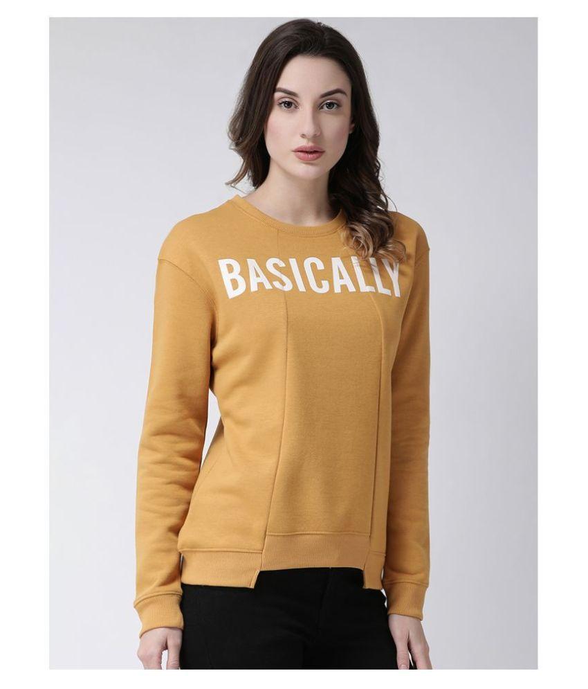 Club York Fleece Yellow Non Hooded Sweatshirt