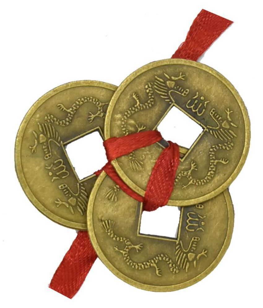 Feng Shui Three Lucky Coin (3 x 3 cm) For Health, Wealth, Prosperity and Success
