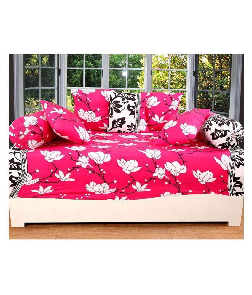 KS21 Homes Poly Cotton Pink Abstract Diwan Set 8 Pcs