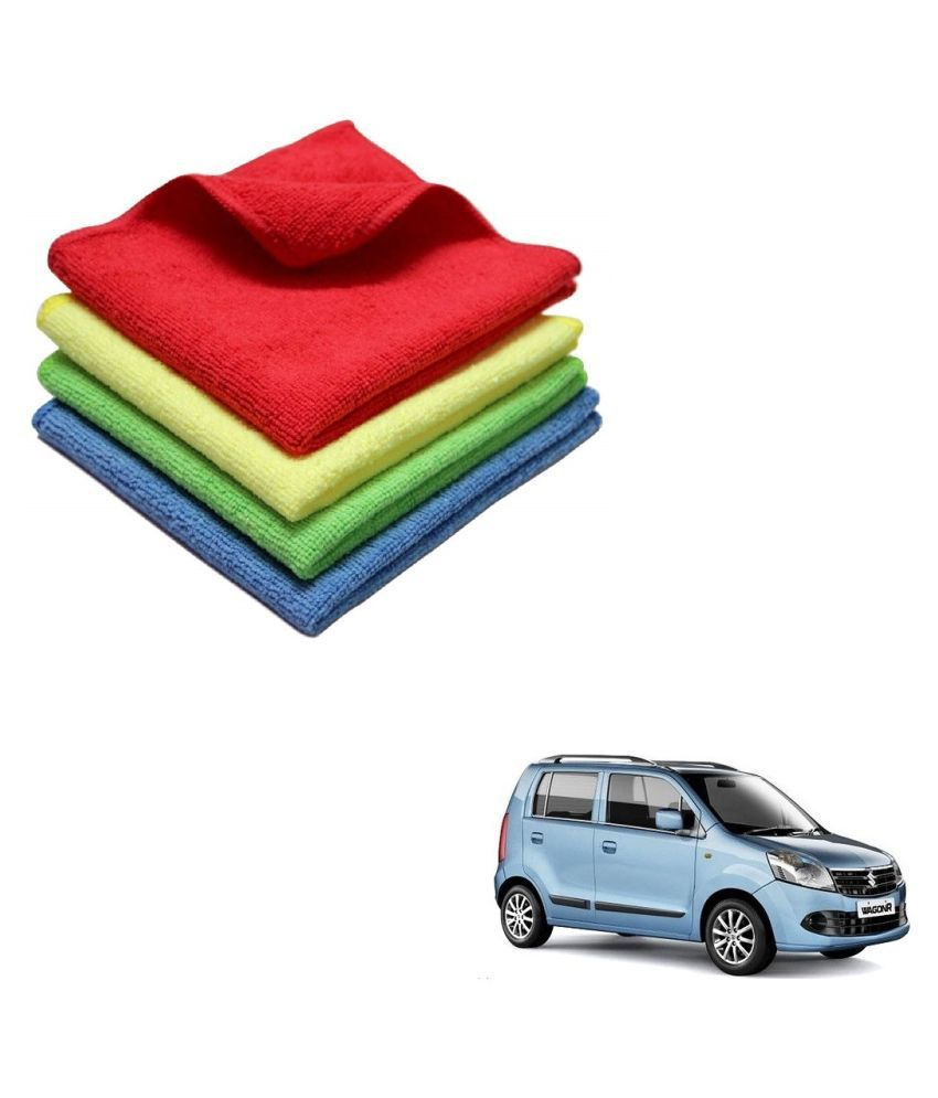Kozdiko Microfiber Cleaning Cloth Car 300GSM 40x40 cm Pack of 4 For Maruti Suzuki Old WagonR (2000-2010)