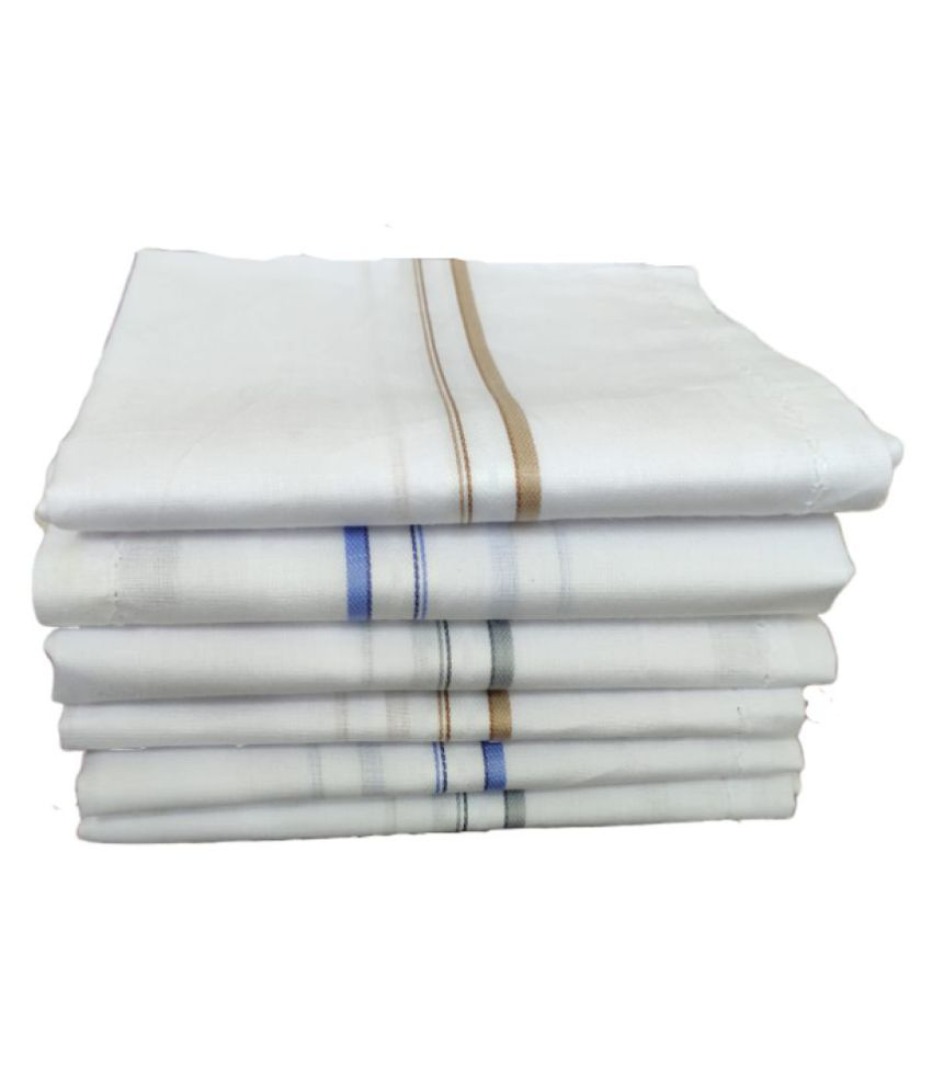 Jenny Denial Daily Use 6 pcs White Bombay Cotton Handkerchief, Hankey Machine washable, Rumal For men