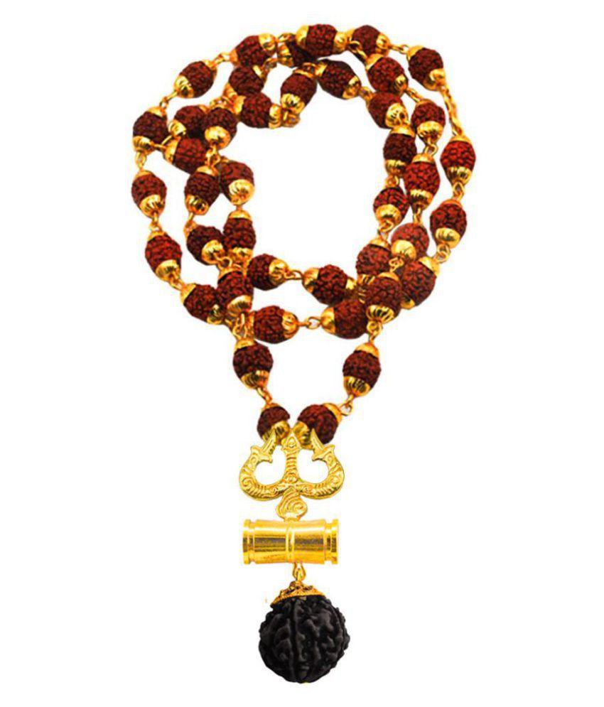 Men Style  Lord Shiva Trishula Damaru Locket With Puchmukhi Rudraksha Mala Gold-plated Beads Brass, Wood Pendant Set