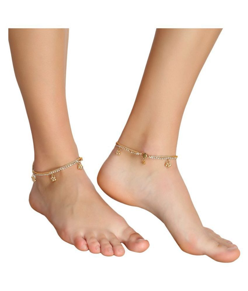 Jewels Gold Indian Traditional Ethnic Fancy Foot Jewellery Gold Plated Ghungru Payal Pajeb Leg Chain Artificial Anklet For Women And Girls