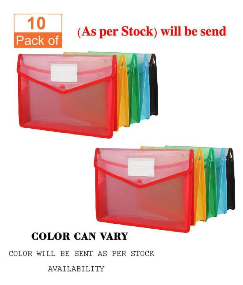 G-1 Transparent Poly-Plastic A4 Documents File Storage Bag With Snap Button Set Of 10