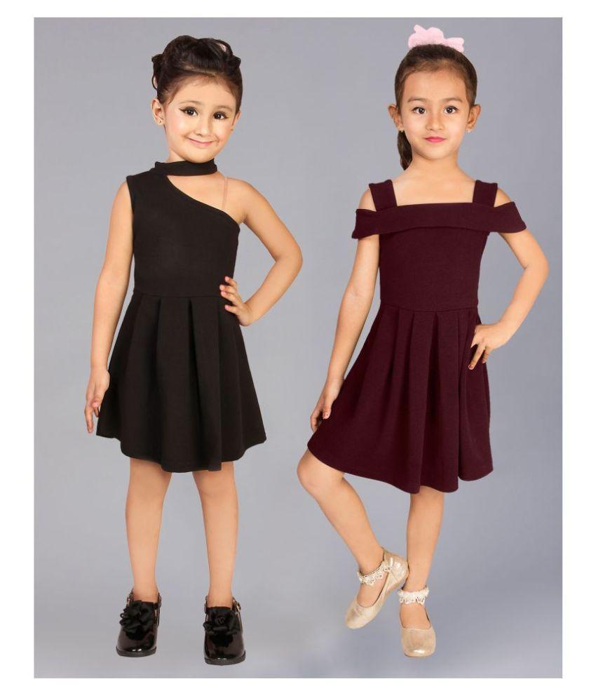 Addyvero Girls Knee Length Partywear Dress Combo