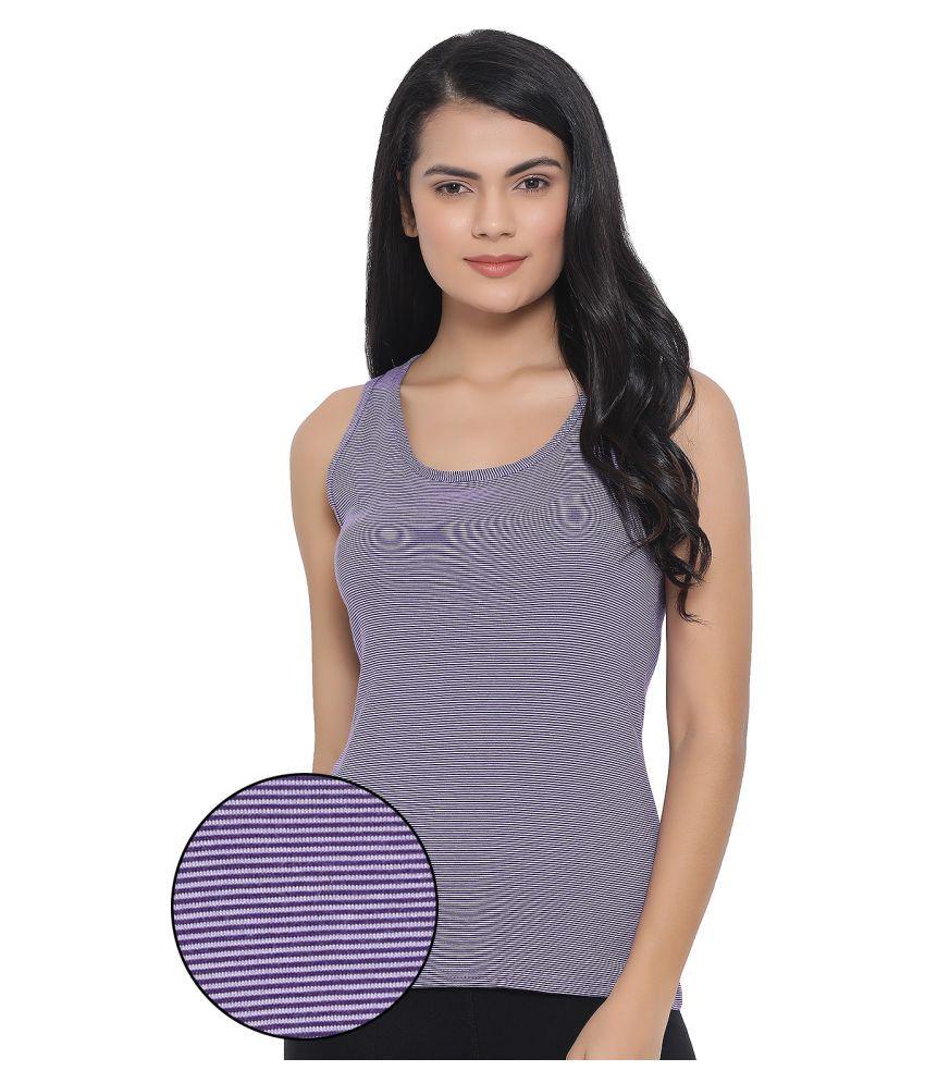 Clovia Cotton Blended Camisoles - Purple