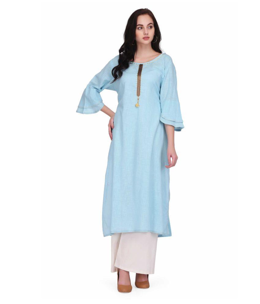 INDIA FASHION HOUSE Turquoise Cotton A-line Kurti