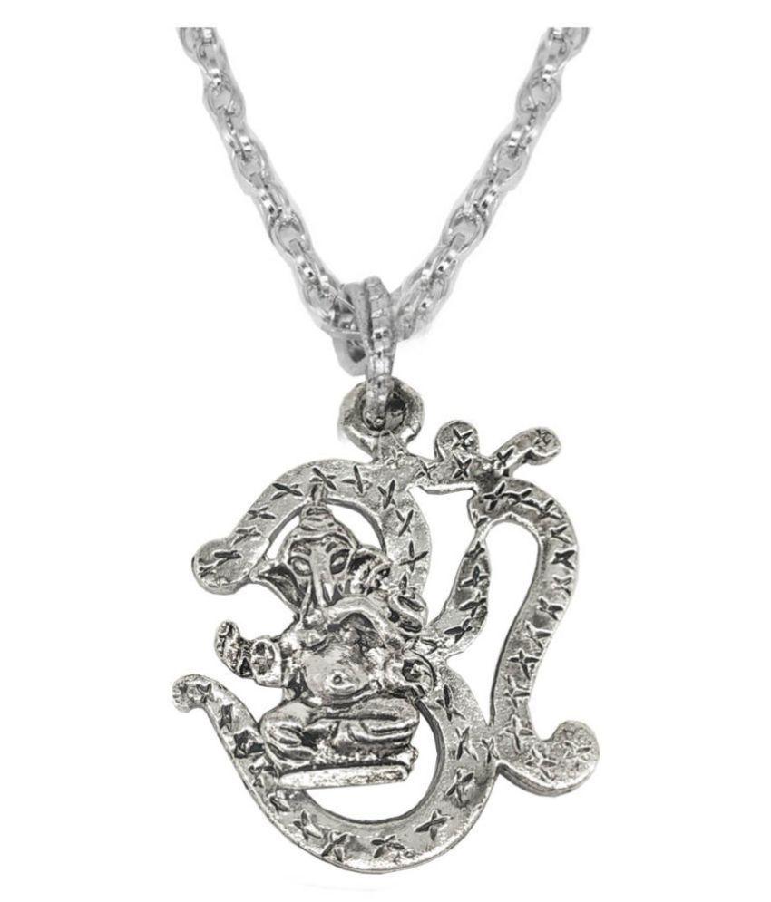 Shiv Jagdamba  Religious Jewelry Lord Om Shree Ganesh Locket With Chain Sterling Silver Zinc, Alloy Pendant