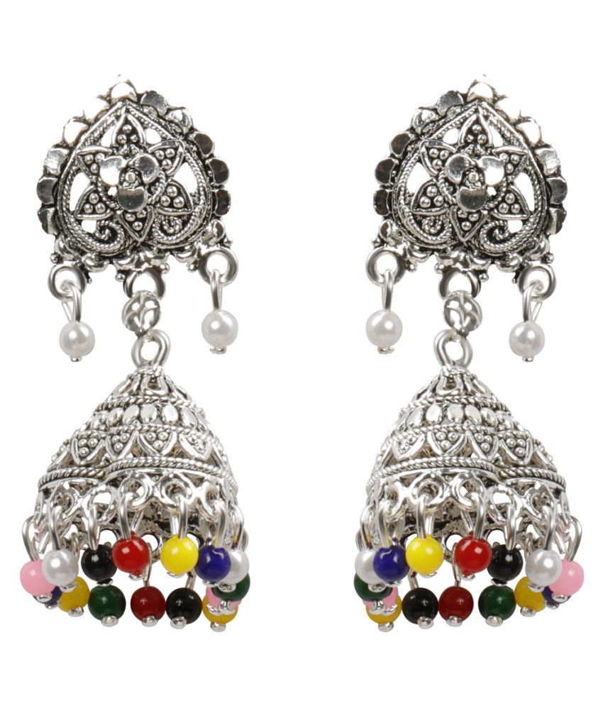 Silver Shine Alluring Multicolor Flower and Beads Jhumki Earrings
