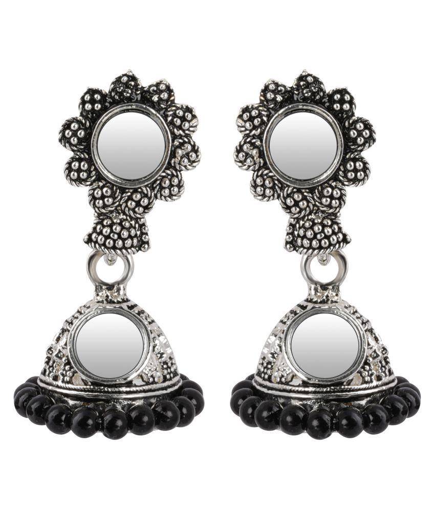Silver Shine Spunky Green Mirror with Beads Jhumki Earrings