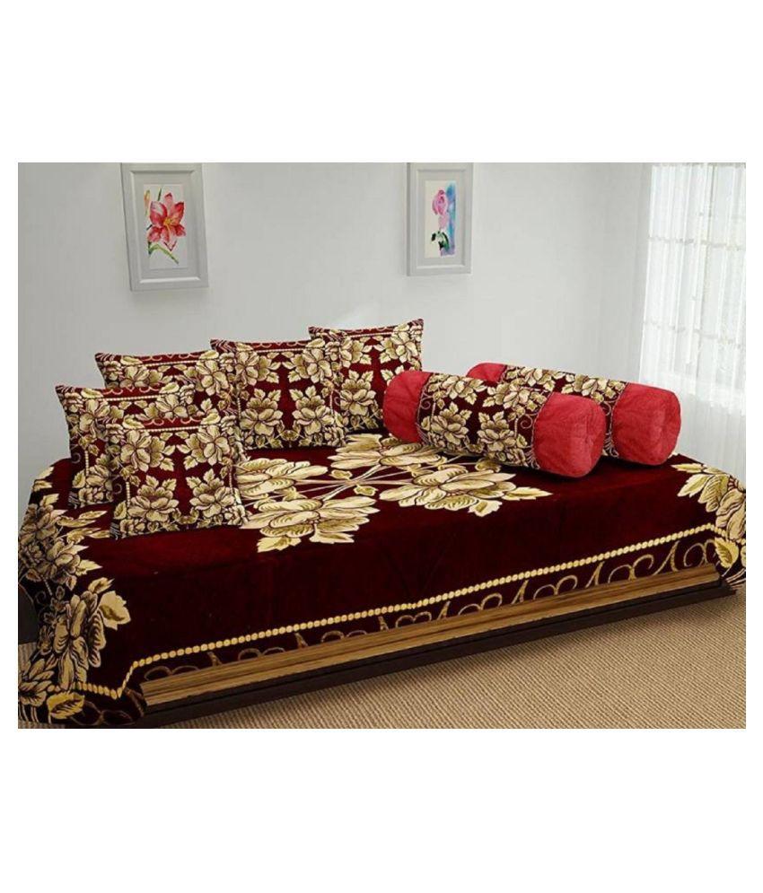 luvnoor handloom Chenille RED Abstract Diwan Set 8 Pcs