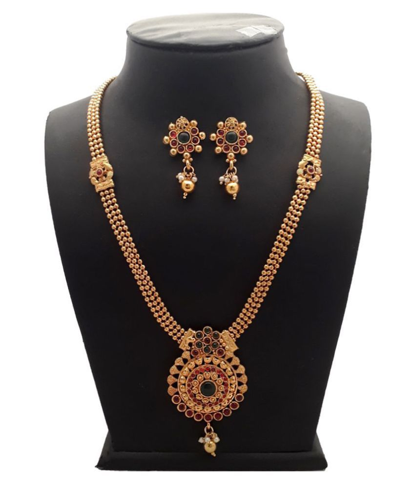Piah Alloy Golden Long Haram Traditional High Gold Plated Necklaces Set
