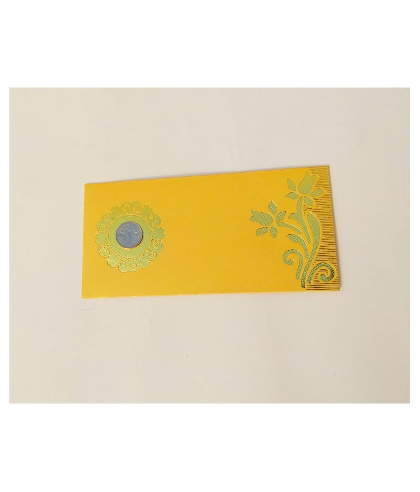 Parvenu Shagun Two Flower Coin Money Envelope in Multi Color. Pack of 50 Pieces.