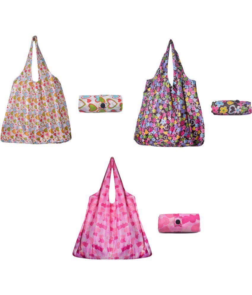 Jewelz Nylon Shopping Bag Set of 3 Foldable ,Pocket Size, Grocery Shoulder Handbag, Travel Bag  Eco-Friendly ,Reusable bags (Assorted colour)