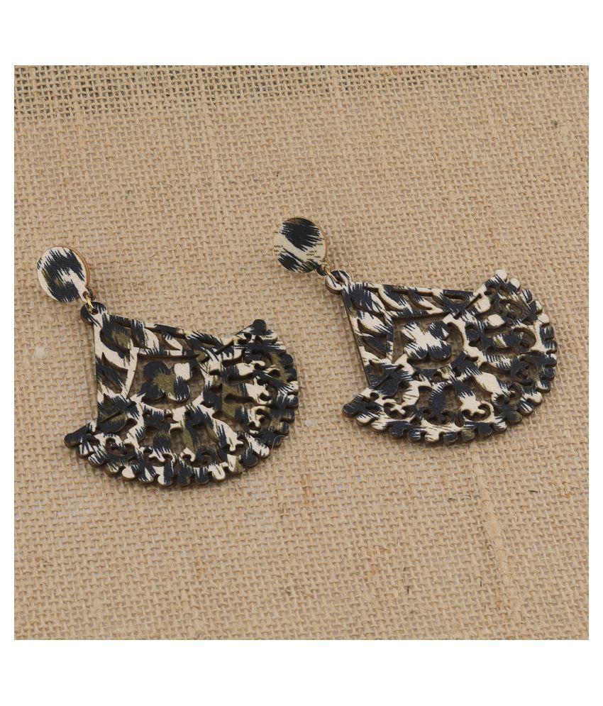 SILVER SHINE Designer Dangler  Wooden Light Weight Earrings for Girls and Women.