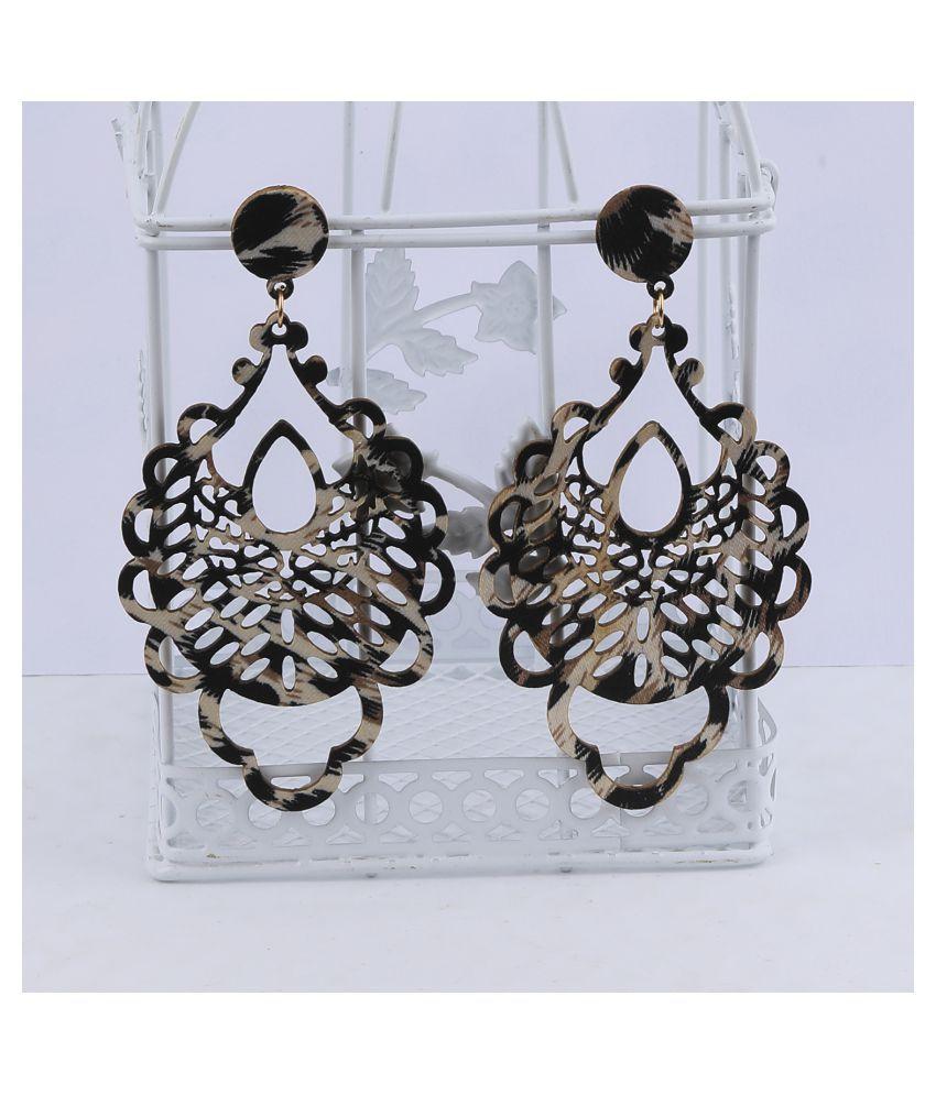 SILVER SHINE Elegant  Light Weight Dangle Wooden Earrings for Girls and Women.