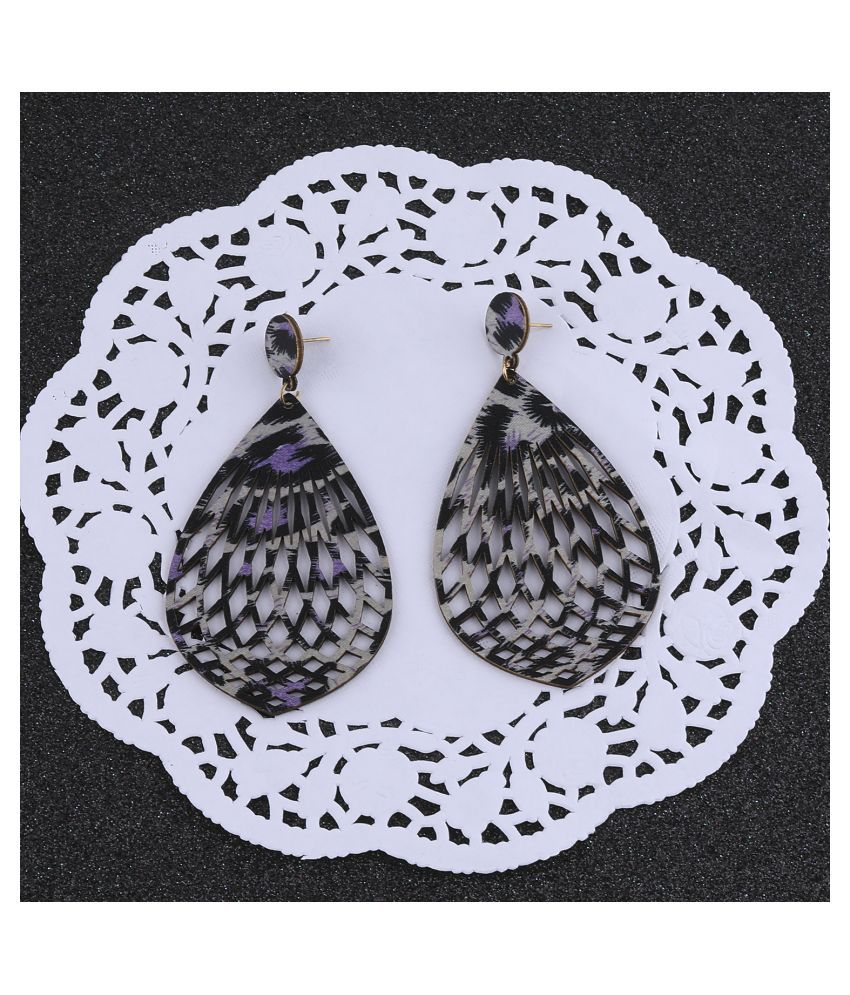 SILVER SHINE Exclusive  Dangler Wooden Earrings For Girls and Women