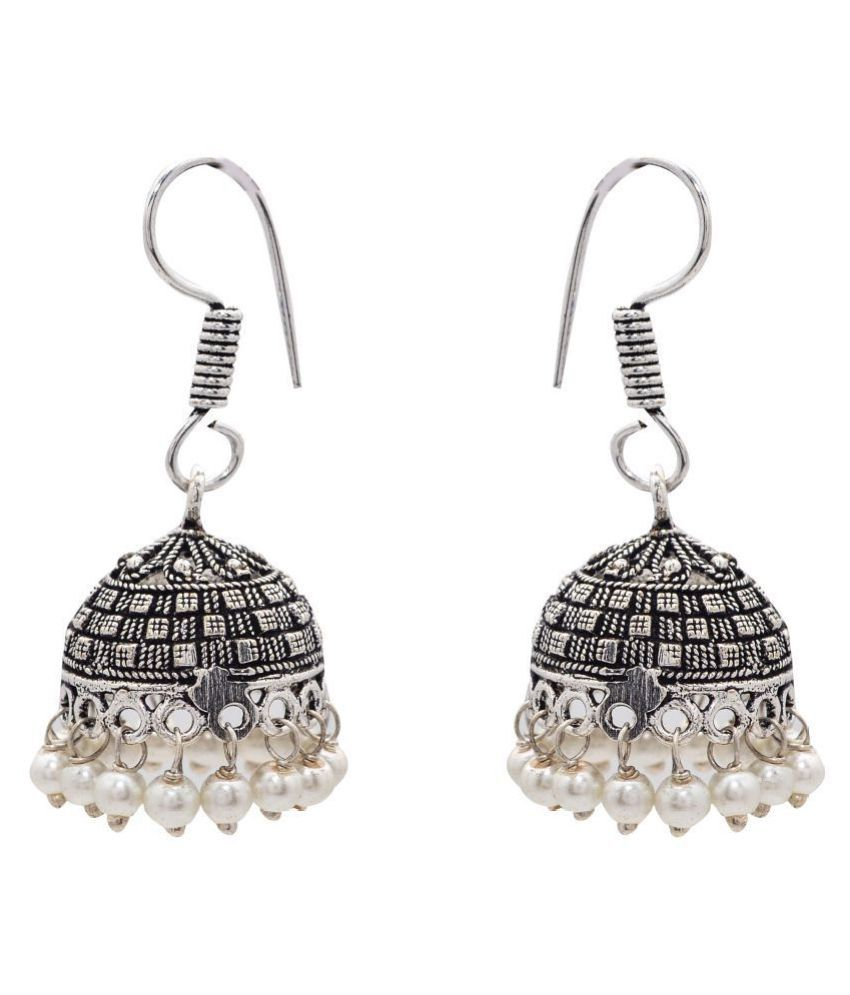 Jewelz Multifaceted silver jhumkas with white beads