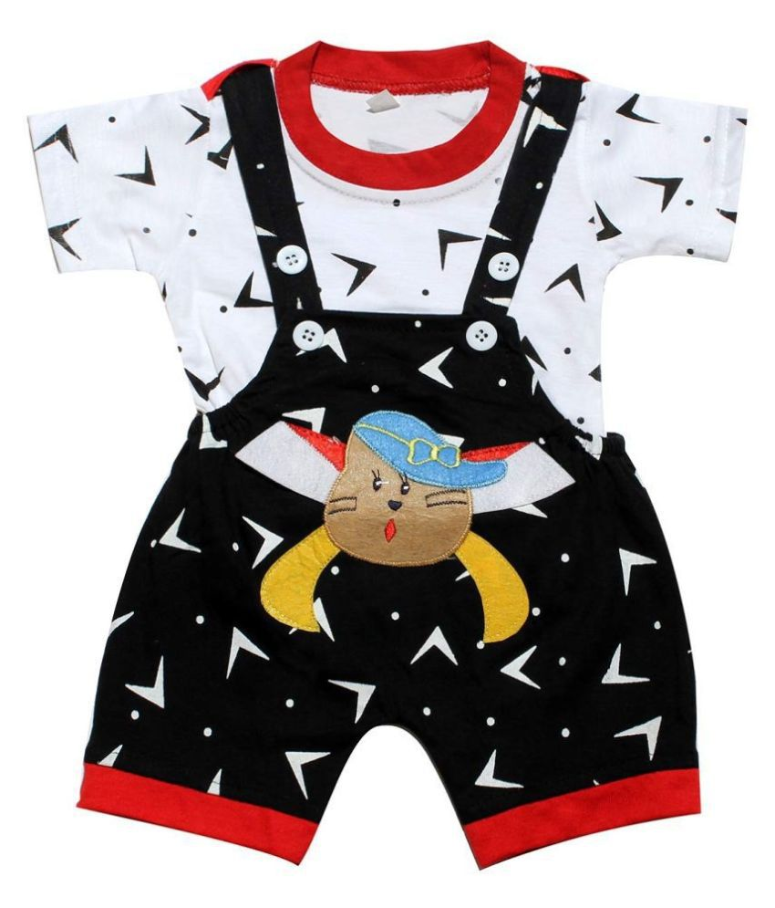 babeezworld dungaree for Boys & Girls casual printed pure cotton (Black & White ; 3-6 Months)