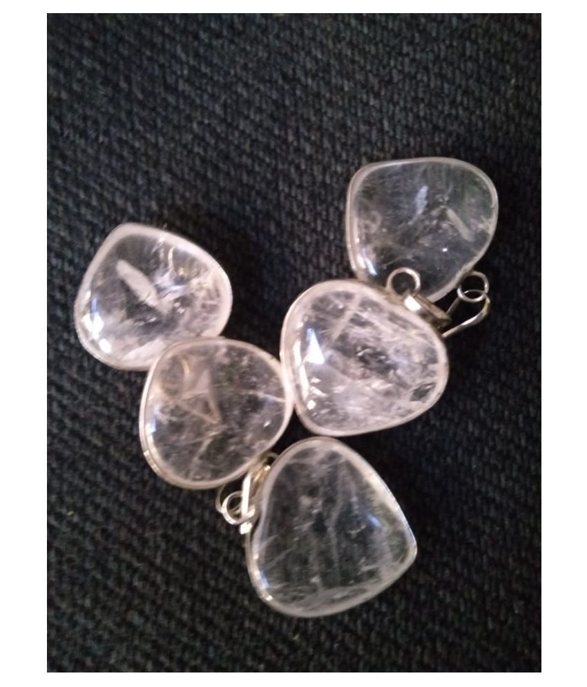 White Clear Quartz Pendant Natural Agate Stone Pendant ( 5 Pcs )