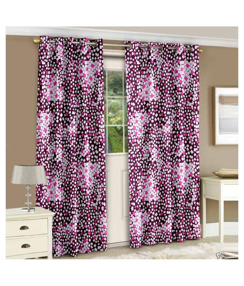 Bedspun Set of 2 Door Semi-Transparent Eyelet Polyester Curtains Pink