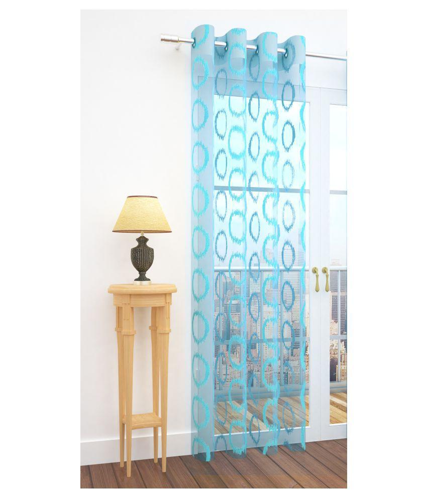 Story@Home Single Door Semi-Transparent Eyelet Net Curtains Blue