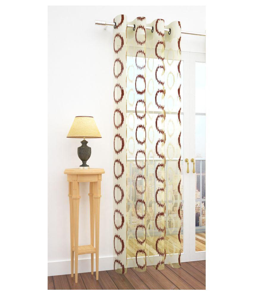 Story@Home Single Door Semi-Transparent Eyelet Net Curtains Brown