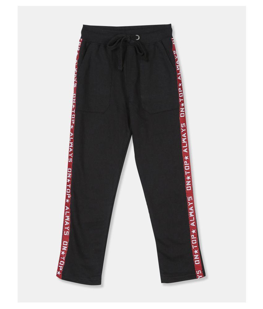 Boys Black Side Tape Knit Track Pants