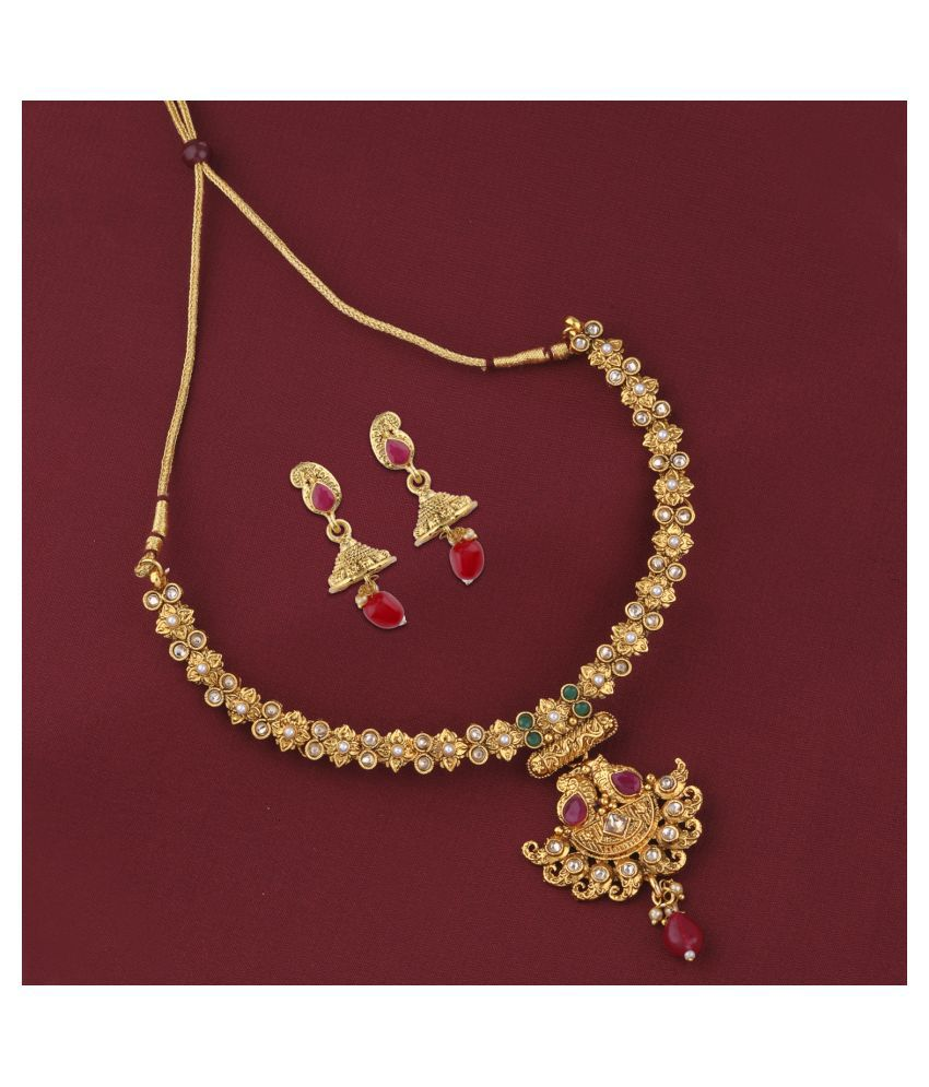 Silver Shine Exclusive Traditional Gold Plated Red and Green Kundan stone studded Bead drop Designer Bridal Wedding Necklace Jewellery Set for Girls And women