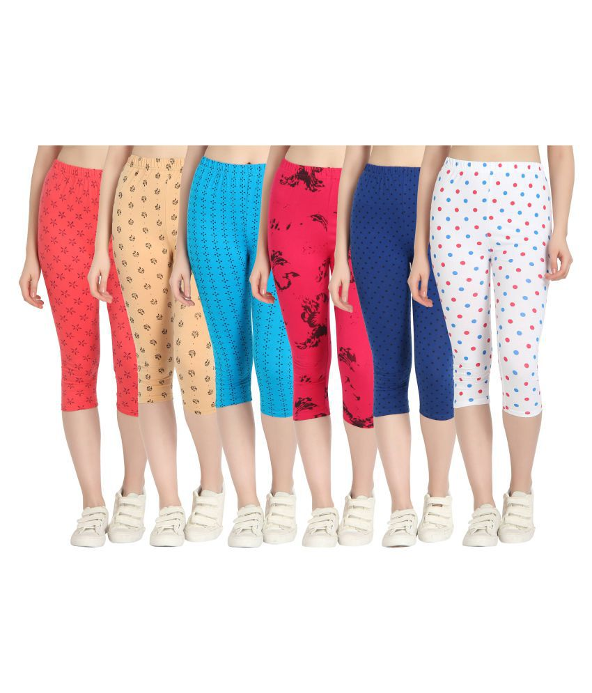Diaz Multi Color Cotton Lycra Printed Capri