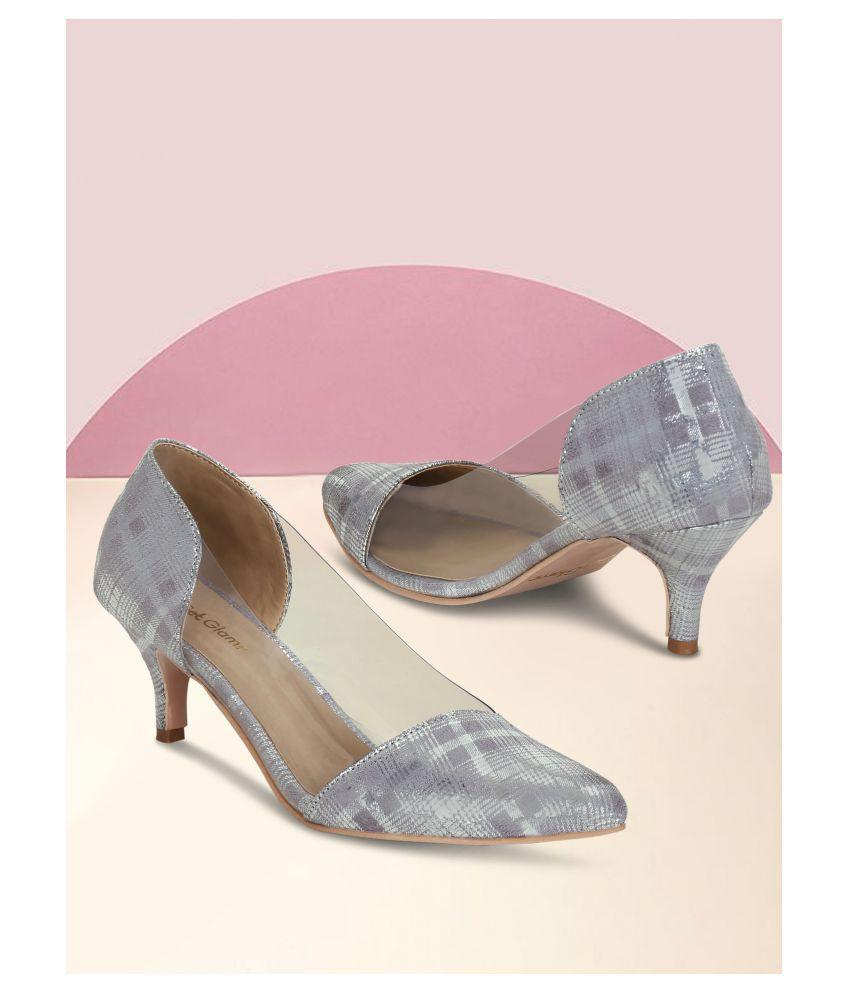 Get Glamr Silver Kitten Heels