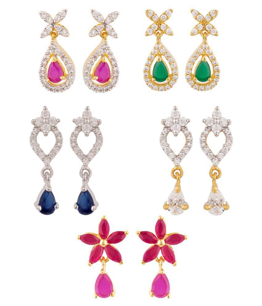 Voylla Tiny CZ Drop Earrings