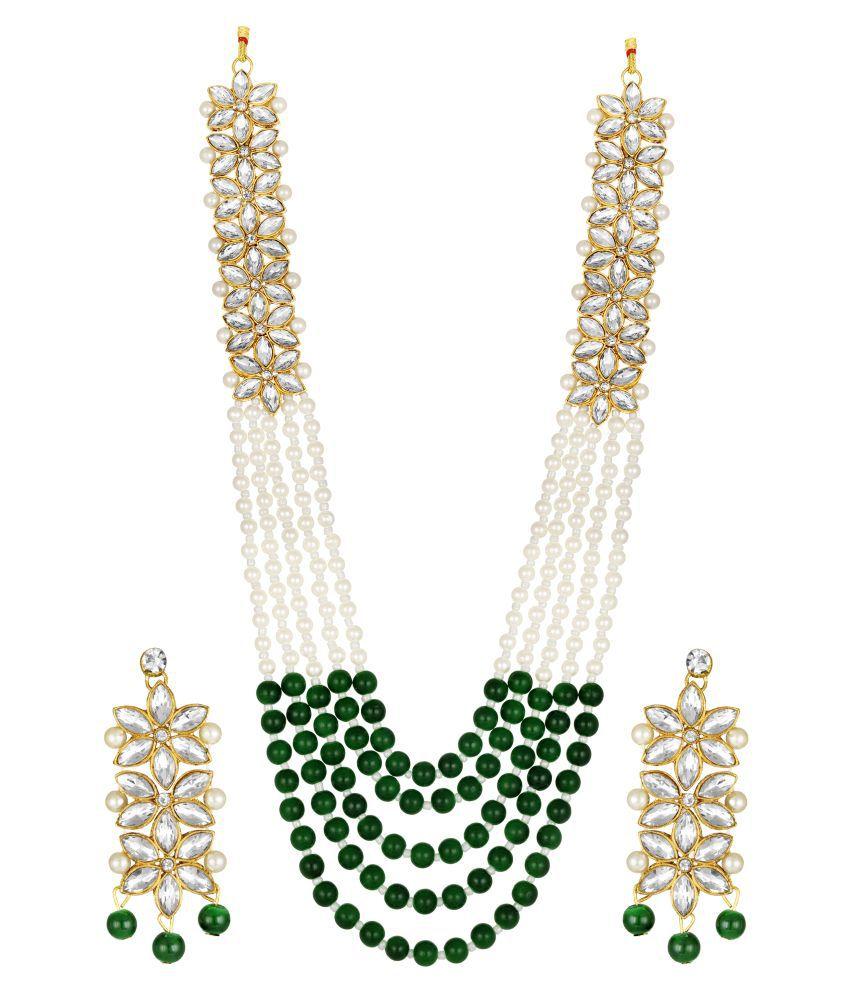 nee om creation Alloy Golden Opera Designer Gold Plated Necklaces Set
