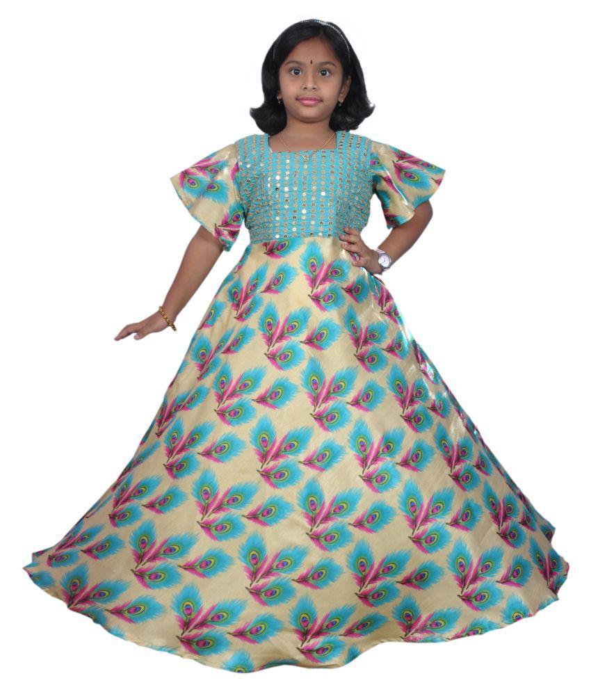 NIHA  Girls Kids Party Wear Long Frock Maxi Gown Birthday Dress ( LF63- 7 Years)