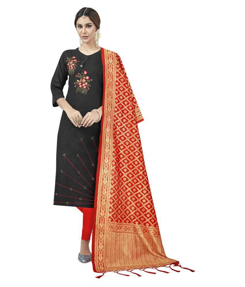 Maroosh Black Cotton Straight Semi-Stitched Suit
