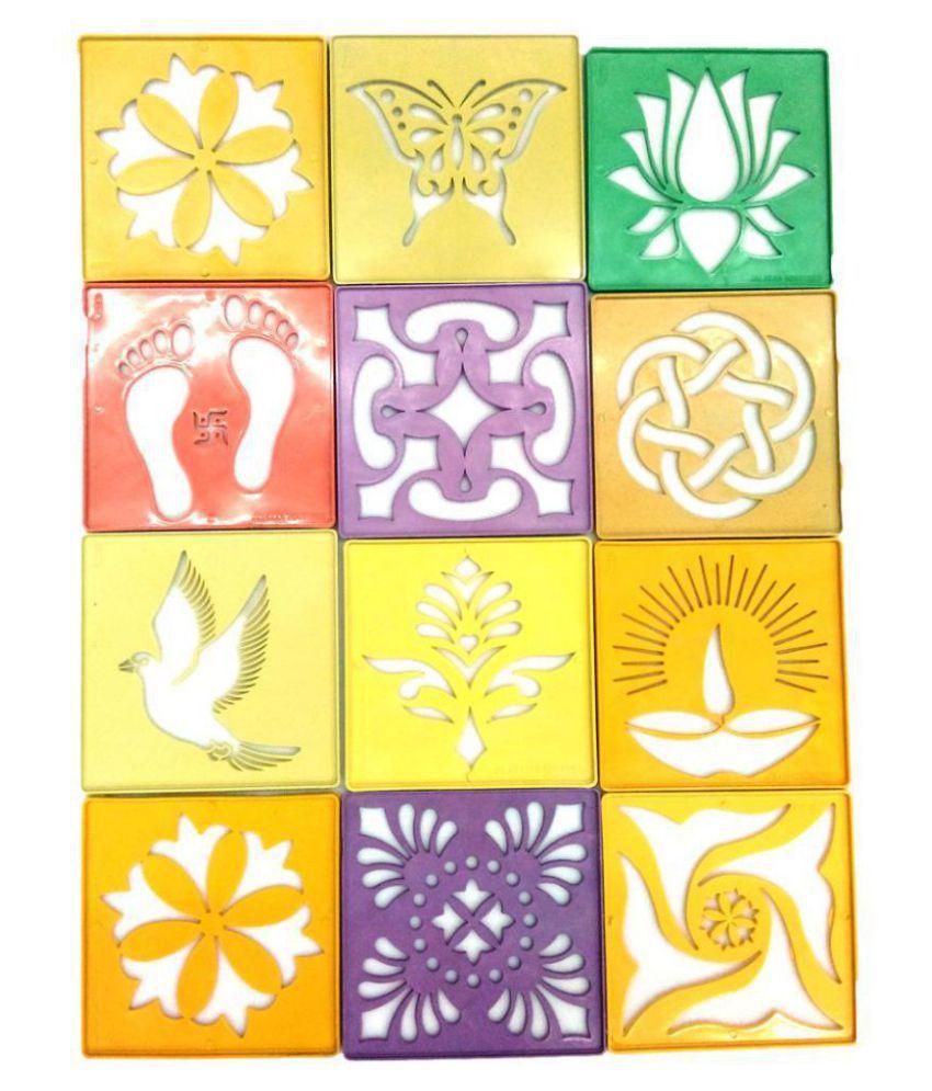 Vardhman Plastic Rangoli Stencil, 4x4 Inches  Multicolour    Pack of 12