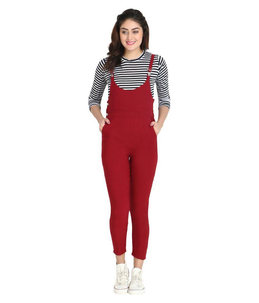 BuyNewTrend Maroon Cotton Lycra Jumpsuit