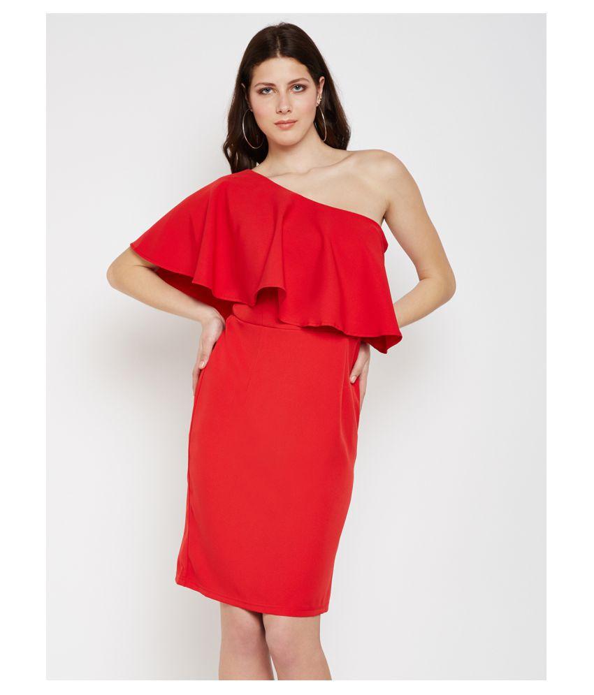 Nun Poly Cotton Red Bodycon Dress