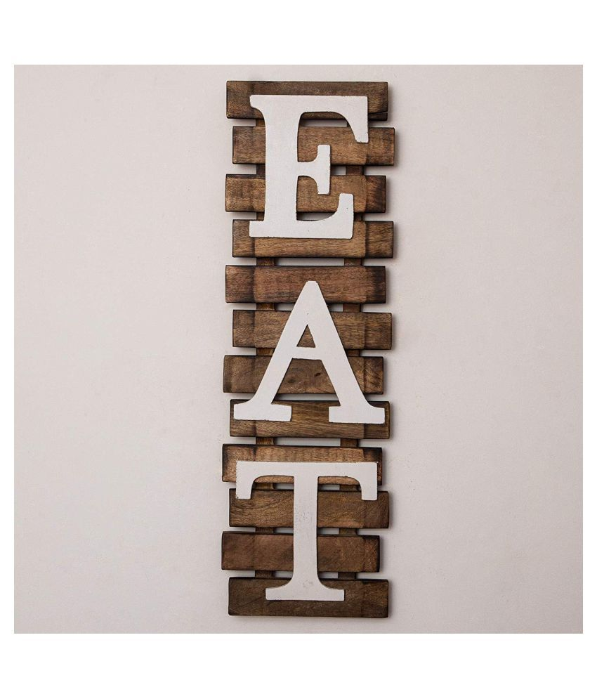 Casa Decor Wood Eat Plank Wall Home Decor Wall Sculpture Multi - Pack of 1