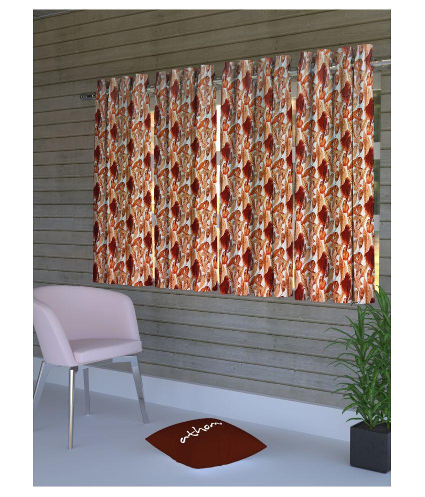 Athom Trendz Set of 4 Window Semi-Transparent Eyelet Polyester Curtains Multi Color
