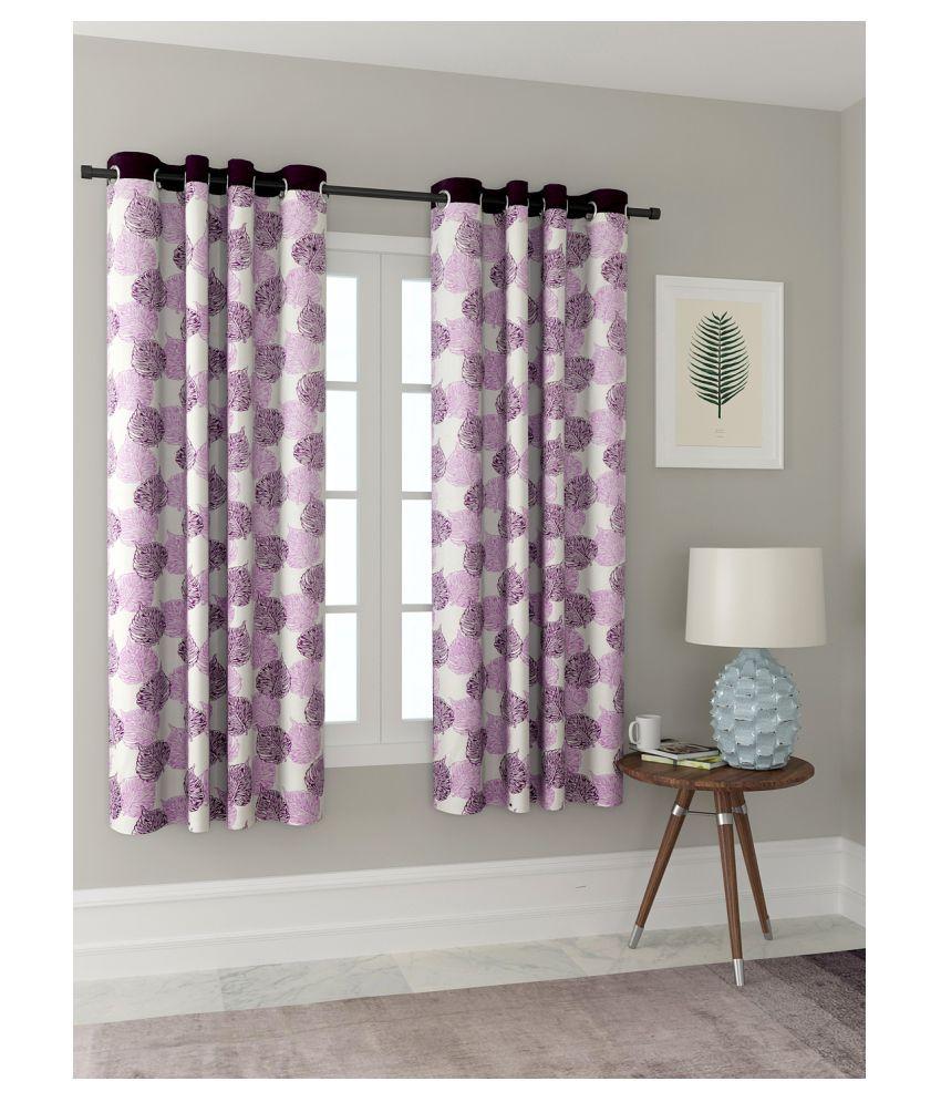 Cortina Set of 2 Window Semi-Transparent Eyelet Polyester Curtains Purple