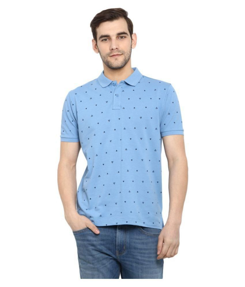 Red Tape Polyester Cotton Blue Printed Polo T Shirt
