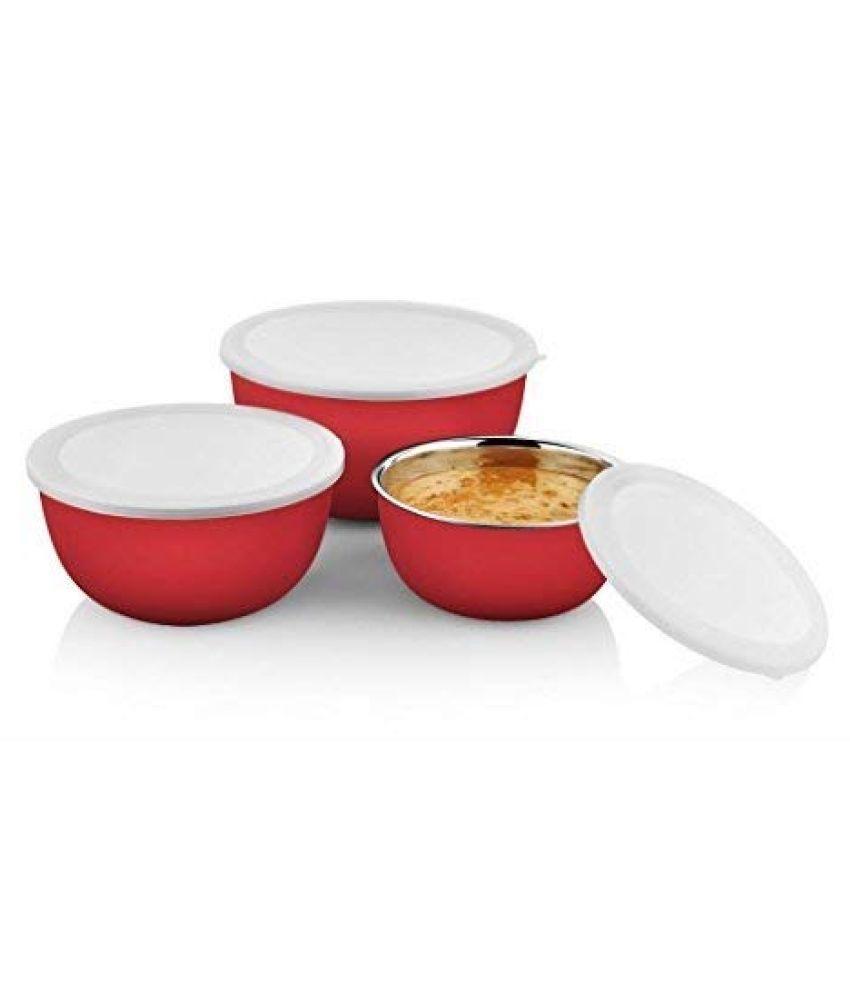 VAGMI Microwave Bowl Steel Food Container Set of 3 1700 mL