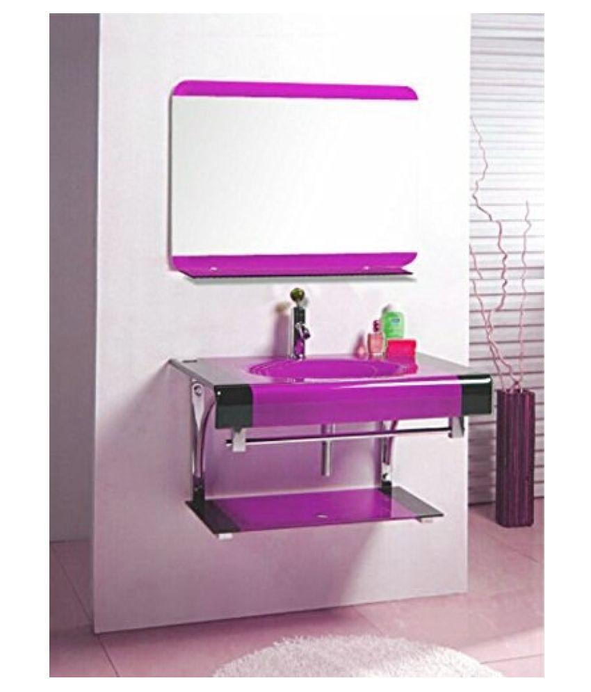 ARVIND SANITARY Pink Toughened Glass Wall Hung Wash Basins