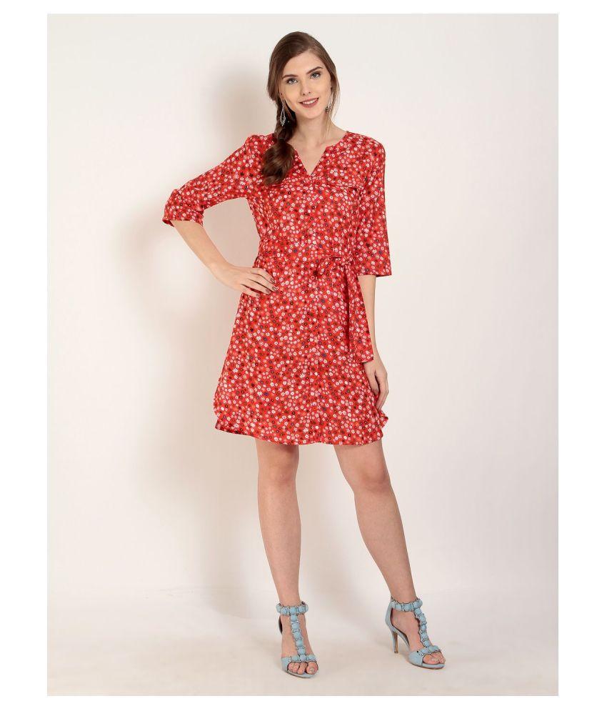 Abiti Bella Rayon Orange Fit And Flare Dress