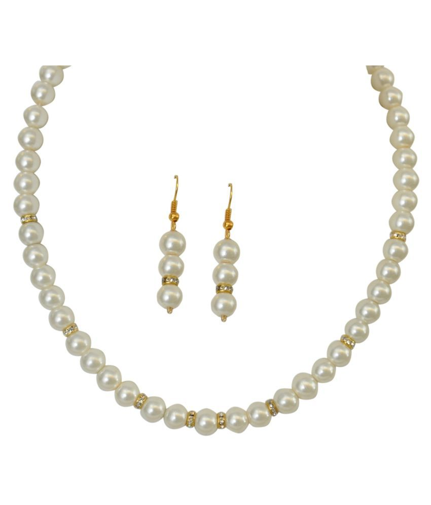 sharma pearls and jewellers Pearls White Contemporary Designer Gold Plated Necklaces Set